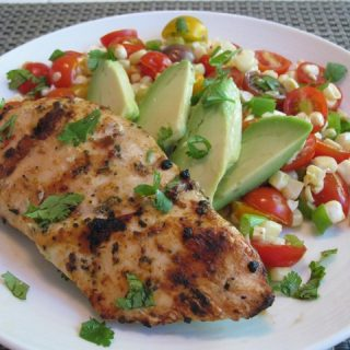 CEiMB: Chicken with Warm Tomato-Corn Salad