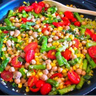 Chickpea, Asparagus & Corn Saute