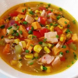 """Spicy Sweet Potato-Corn Chowder with """"Bacon"""", 3 points+"""