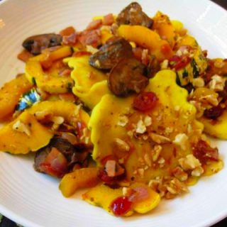 Butternut Squash Ravioli's with Bacon, Cranberries & Walnuts, 9 points+