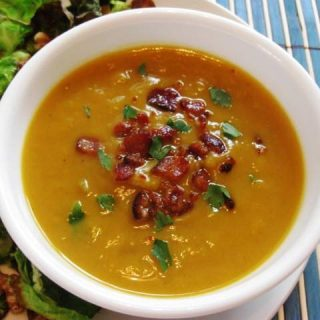 Sweet Potato Leek Soup with Bacon
