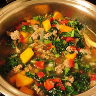 Butternut Squash, Kale and Italian Sausage Soup