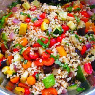 Roasted Vegetable Barley Ratatouille Salad