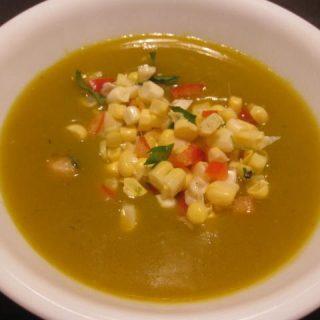 Vegan Coconut Kabocha Squash Soup with Corn Salsa, 4 points+
