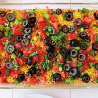 Simply Filling Vegetarian Seven Layer Bean Dip
